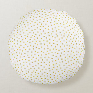 Medium Gold Watercolor Polka Dot Pattern Round Cushion