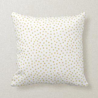 Medium Gold Watercolor Polka Dot Pattern Throw Pillow