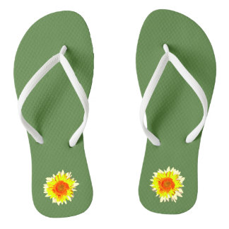 Medium Green Sunflower on Thongs