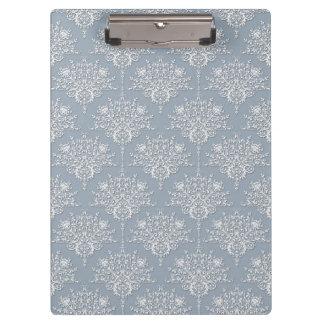 Medium Grey Blue and White Damask Pattern Clipboard
