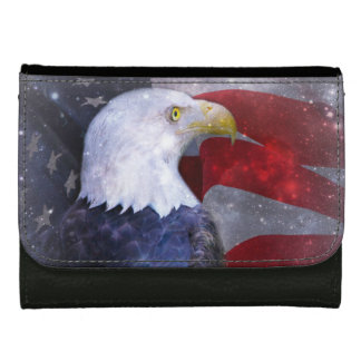 Medium Leather Wallet/Eagle and American Flag Women's Wallets