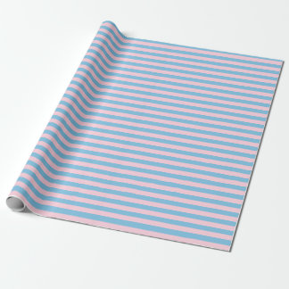 Medium Light Blue and Light Pink Stripes Wrapping Paper