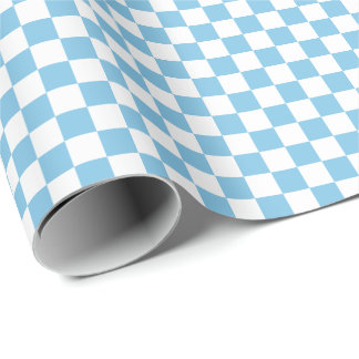 Medium Light Blue and White Checks Wrapping Paper