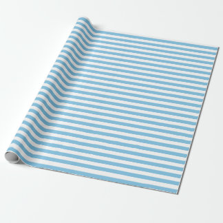 Medium Light Blue and White Stripes Wrapping Paper