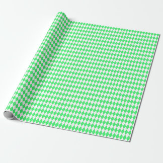 Medium Light Green and White Harlequin Wrapping Paper