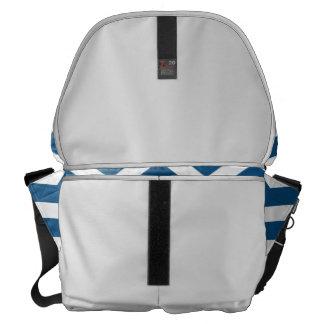 Medium Messenger Bag Outside Navy Chevron Print