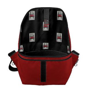 Medium Messenger Bag, Red and Black Messenger Bag