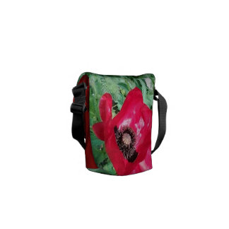 Medium Messenger Bag Red Poppy Design