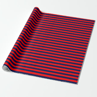 Medium Navy Blue and Red Stripes Wrapping Paper
