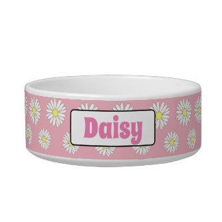 Medium Pink & White Daisies Personalized Dog Bowl