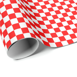 Medium Red and White Checks Wrapping Paper