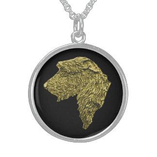 Medium Round Stirling Silver Necklace (Gold/Black)