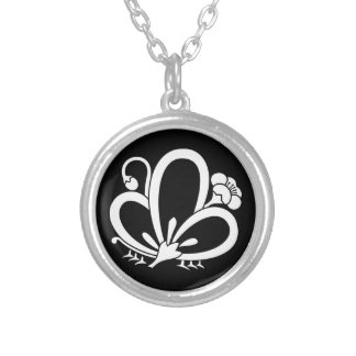 Medium shade plum butterfly silver plated necklace