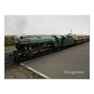 Medium Size Poster with Steam Train at Dungenes