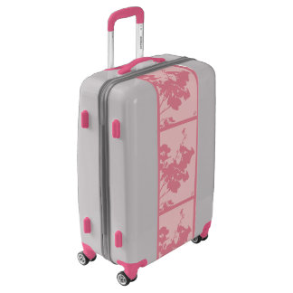 Medium Sized Luggage Suitcase PINK HUMMINGBIRD