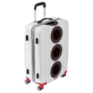Medium Sized Luggage Suitcase RED/BLACK CIRCLE SUN