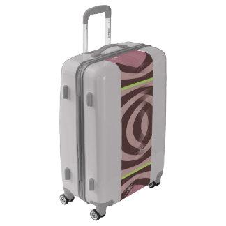 Medium Sized Luggage Suitcase RETRO MAUVE PATTERN