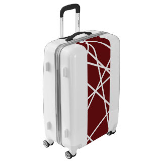 Medium Sized Luggage Suitcase WHITE ABSTRACT LINES