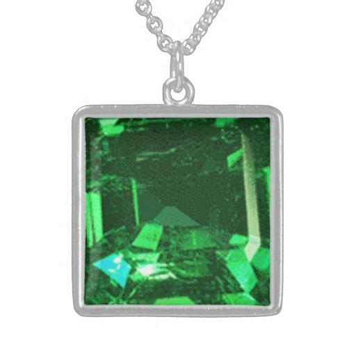 Medium Sterling Silver Square Necklace emerald