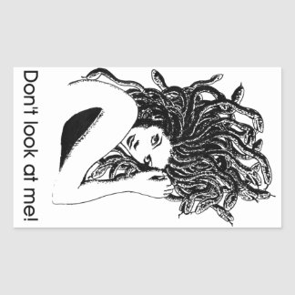 Medusa protected rectangular sticker