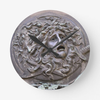 Medusa Shield of Athena Round Clock