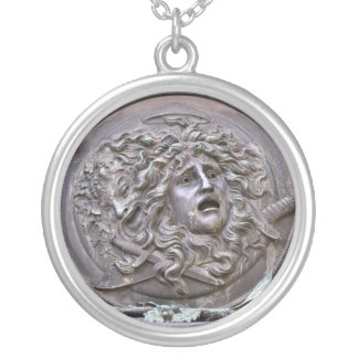 Medusa Shield of Athena Silver Plated Necklace