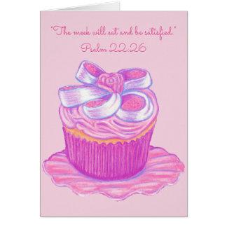 Meek Eat & Be Satisfied~Scripture~Cupcake Card