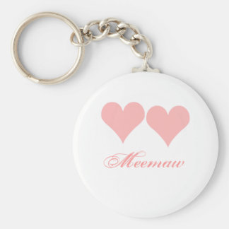 Meemaw key chain with pink hearts