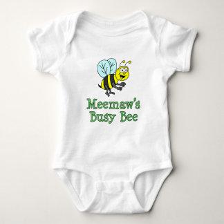 Meemaw's Busy Bee Cute Cartoon Baby Bodysuit