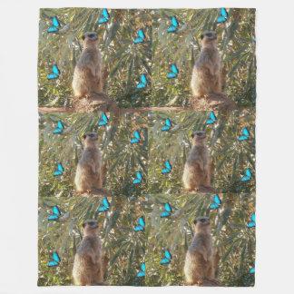 Meerkat_And_Blue_Butterflies,_Fleece_Blanket. Fleece Blanket