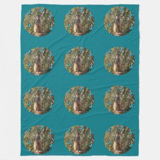 Meerkat_And_Butterflies,_Turquoise_Fleece_Blanket Fleece Blanket