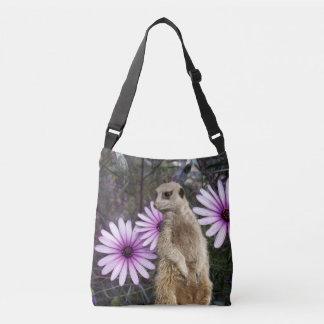 Meerkat And Daisies, Full Print Cross Body Bag. Crossbody Bag