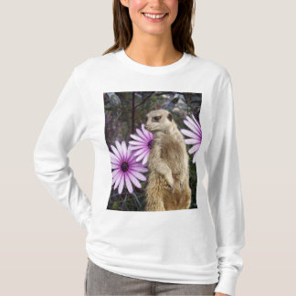 Meerkat_And_Daisies_White_Long_Sleeve_T-shirt. T-Shirt