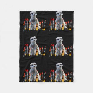 Meerkat And Logo, Small Black Fleece Blanket