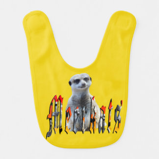Meerkat And Meerkat Logo Yellow Baby Bib. Bib