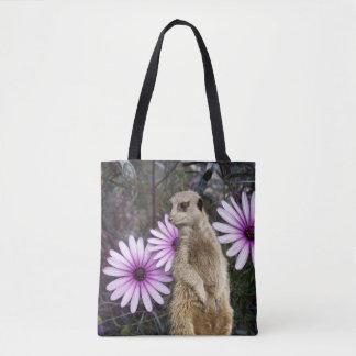Meerkat And Purple Daisies, Tote Bag