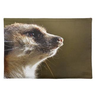 Meerkat Animal Nature Zoo Tiergarten Small Fur Placemat