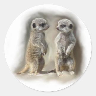 Meerkat baby twins round sticker