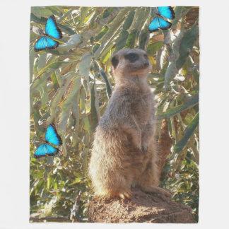 Meerkat_Butterflies,_Fleece_Blanket. Fleece Blanket
