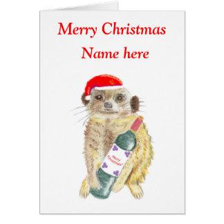 Meerkat Christmas card, customisable Card
