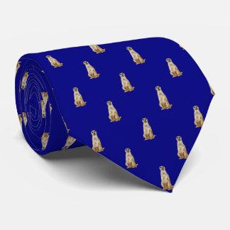 Meerkat Diamond Pattern on Navy Blue Tie