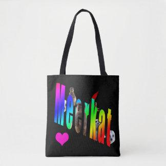 Meerkat Dimensional Logo Black Shopping Bag. Tote Bag