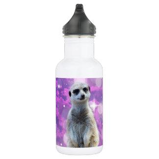 Meerkat Glitter Bomb, White Reusable Water Bottle. 532 Ml Water Bottle