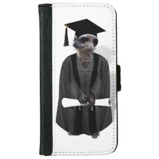Meerkat Graduate W/Grey Gown & Black Sash iPhone 6 Wallet Case