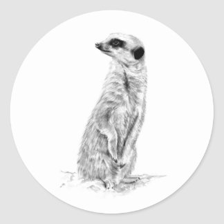 Meerkat in charge classic round sticker