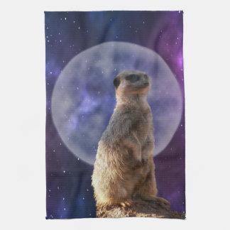 Meerkat In Front Of Full Moon,  Tea Towel. Tea Towel