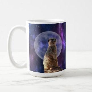 Meerkat In The Moonlight, Large White Coffee Mug. Coffee Mug