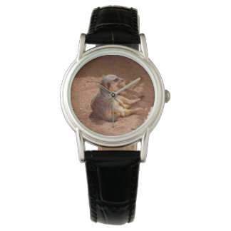 Meerkat Lazy Days, Ladies Black Leather Watch. Watch
