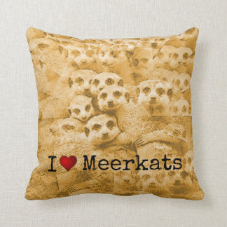 Meerkat Love Cute Wildlife Glitch Art Typography Cushion