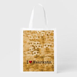 Meerkat Love Cute Wildlife Glitch Art Typography Reusable Grocery Bag